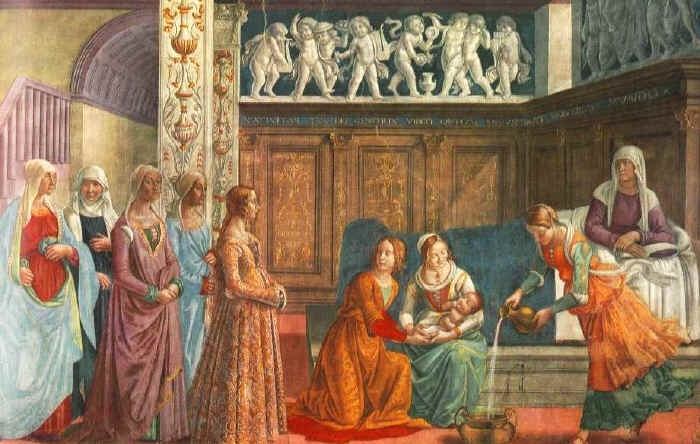 Birth of Mary - by Domenico GHIRLANDAIO, from the Cappella Tornabuoni, Santa Maria Novella, Florence
